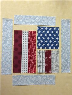 sewing the strips of fabric into the flag quilt block