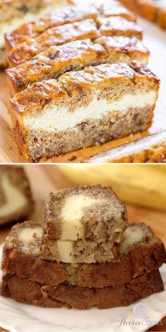 Banana Cheesecake Bread, Banana Bread Cream Cheese, Quick Banana Bread, Banana Bread Cookies, Homemade Banana Bread, Cream Cheese Desserts, Banana Nut Bread, Banana Bread With Buttermilk, Cream Cheese Cake Filling