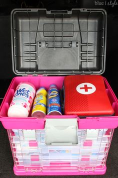 An ORGANIZED CAR KIT for families always on the go. Put together one of these DIY car storage kits to always be prepared with first aid snacks tools hygiene clothing care and entertainment. Everything moms need for road trips and busy days around town.