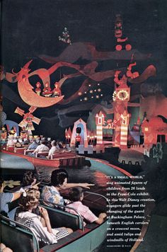 Inside Walt Disney's It's a small world at the Pepsi exhibition at the New York 1964 World Fair. Photo from National Geographic Magazine.