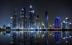 Dubai Night Photo Taken From The Palm Island Jumeirah United Arab Emirates Hd Desktop Wallpaper For Your Computer 3840×2400 #4K #wallpaper #hdwallpaper #desktop