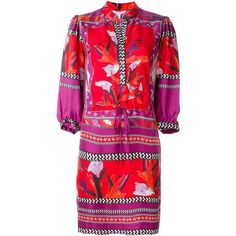 Diane Von Furstenberg Chrystie Dress ($540) ❤ liked on Polyvore featuring dresses, multicolour, colorful dresses, red silk dress, multi colored dress, diane von furstenberg dresses and multi-color dress
