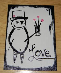 Valentine - Love - ACEO - Artist Trading Card - Mini Painting