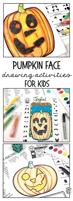 Take the fear out of making art with this Halloween Jack O Lantern Art Activity. Easy drawing ideas make designing a pumpkin face fun for kids. A great fall craft activity that also incorporates writing an adjective for the pumpkin's feeling on the label.