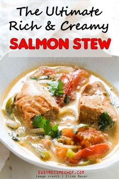 Salmon stew or Salmon Chowder, is a Brazilian dish from Bahia. The fresh ingredients used to prepare this meal, makes it the favourite among seafood lovers. Salmon Stew Recipe, Best Salmon Recipe, Baked Salmon Recipes, Shrimp Recipes For Dinner, Dinner Recipes Easy Quick, Quick Easy Meals, Yummy Recipes, Crockpot Recipes, Soup Recipes