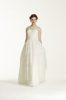 I LOVE THE STRIPES  MS251073: Sleeveless Gown with Banded Tulle Overlay