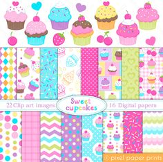 Sweet Cupcakes Clipart & Digital Paper Set - great for birthday invitations, scrapbooking, card making, web design and more.