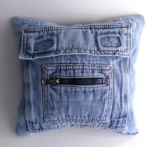 Blue Jean Ring Bearer Pillow with His and Hers Pockets (denim, upcycled)