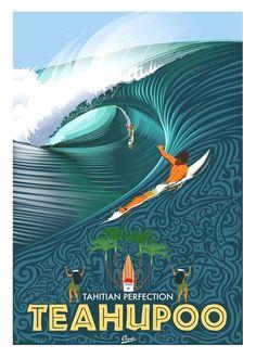 Gigantic waves in Teahupoo - French Polynesia Tahiti Surf Vintage, Retro Surf, Poster Surf, Surf Mar, Plakat Design, Surf Design, Surfboard Art, Wave Art, Illustration