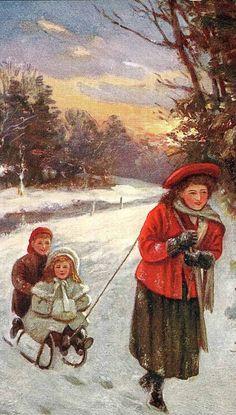 """""""Christmas Greetings"""" - vintage Christmas card"""
