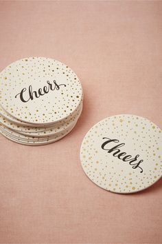 #cheers #goldfoil #letterpress #coasters // #party #decor #details