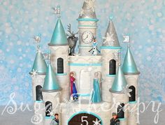 Frozen castle cake. I want to give a shout out to Shawna McGreevy of McGreevy Cakes for the tutorial on YouTube. (https://www.youtube.com/watch?v=-PsQjihR2m8) She is a true artist! I made some modifications to suit my client.