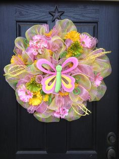 SPRING BUTTERFLY Mesh Wreath by GlitzyWreaths on Etsy, $80.00