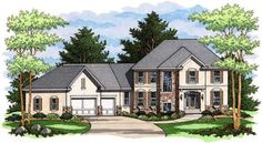 This set of European House Plans has a courtyard entry garage.