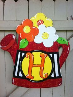 Bright Color Watering Can Wooden Door Hanger Hand Painted Monogram by Earthlizard on Etsy