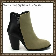 """MI.IM """"Swanky"""" Ankle Booties Eye-catching & showstopping, these ankle booties are sleek & on-point. Trendy color blocking adds visual appeal, while low angular heels subtly boost your height. Side zip closures keep the fit secure. These fashionable ankle booties feature a simple round toe, 2-tone design, double sides zipper closure for easy on wear, with stacked chunky heel, cushioned insole.   ?Color: Beige,black ?Size 8M ?3.5'' heel ?4.5'' shaft ?Side zip closure ?Faux leather/faux suede…"""