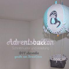 Adventskalender und Kinderzimmerdeko -Adventsballon- (Nähanleitung und Schnittmuster von shesmile) Geschenk zur Geburt, Taufe, Weihnachten oder Hochzeit.