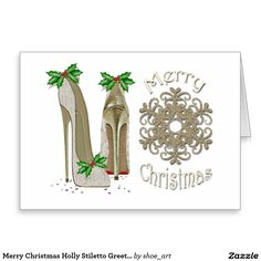 Merry Christmas Holly Stiletto Greeting Card