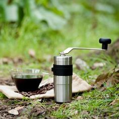 Porlex mini hand coffee grinder, fold up and go.