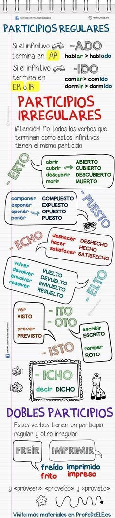 participios regulares irregulares en español #learnspanish
