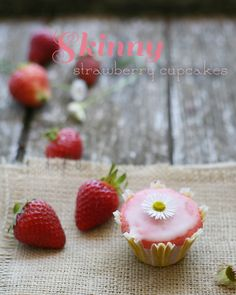 Skinny Fresh Strawberry Cupcakes with Lemon Glaze from YummyMummyKitchen.com adapted from Cooking Light