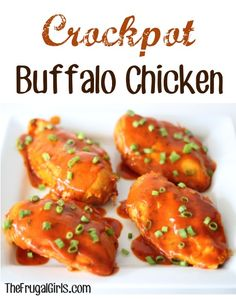 Easy Crockpot Buffalo Chicken Recipe at TheFrugalGirls.com