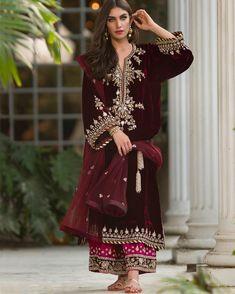 indian fashion Anarkali -- Click Visit link above for more info Pakistani Dress Design, Pakistani Outfits, Pakistani Wedding Dresses, Indian Dresses, Indian Outfits, Velvet Pakistani Dress, Latest Pakistani Fashion, Pakistani Clothing, Indian Attire