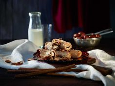 These indulgently sweet Pecan Chocolate Cinnamon Rolls are hard to resist, so why bother? Canapes, Something Sweet, Cinnamon Rolls, Pecan, Glass Of Milk, Deserts, Chocolate, Recipes, Food
