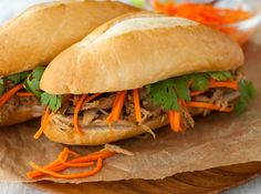 Roasted Chicken Banh Mi Sandwich - Vietnamese banh mi sandwich made easy using rotisserie chicken. Pickled carrots, cilantro, and crunchy baguette keep it traditional. | tamingofthespoon.com