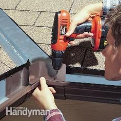 How to Fix Overflowing Gutters. Install a gutter splash guard. Drill holes through both the splash guard and the gutter. If rainwater cascading down your roof valley causes a waterfall that washes out the petunias every Home Renovation, Home Remodeling, Kitchen Remodeling, Under Deck Roofing, Diy Gutters, House Gutters, How To Install Gutters, Home Fix, Diy Home Repair