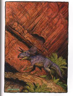 Zuniceratops by William Stout. Dinosaur Age, Dinosaur Fossils, Salt Lake City, Feathered Dinosaurs, Extinct Animals, Prehistoric Creatures, Fantasy Art, Artwork, Indominus Rex