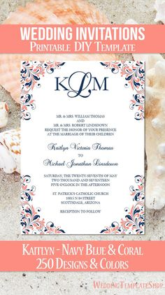 DIY Printable Wedding Invitation Templates shown in the Kaitlyn Design Series in navy blue and coral. All invitation template wording is editable by you within Word. Easy to edit & print. Coral Wedding Invitations, Diy Wedding Invitations Templates, Purple Wedding Invitations, Affordable Wedding Invitations, Wedding Invitation Templates, Invites, Wedding Colors, Wedding Cards, Navy Blue