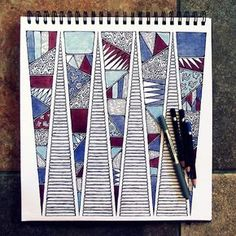 Red White and Blue, Art Piece in Pen and Pencil  Rebecca Blair Art