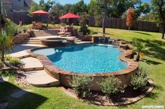 Great pool design built on a slope. #pools #pooldesigns homechanneltv.com