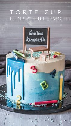 Torte zur Einschulung Recipes food and drink festival School Cupcakes, School Cake, Cupcakes For Boys, Birthday Cupcakes, Fondant Girl, Fondant Cakes, Cheesecake Vegan, Cupcake Recipes For Kids, Homemade Desserts