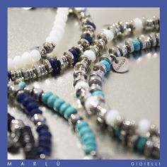 Bracciali in acciaio con perline blu bianche e turchesi della collezione #ManClass. Steel bracelets with blue white and turquoise beads. #ManClass Collection