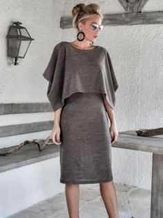 Brown Winter Warm Knitted Cape Midi Dress / by SynthiaCouture