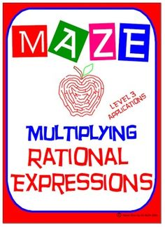 """✐ This product is a good practice on """"Real World Applications of Multiplying Rational Expressions (Level 3)"""" as students must feel comfortable with:  ☑ Factoring Techniques: ✐ Factoring GCF ✐ Difference of Two Squares ✐ Factoring Trinomial where a = 1 ✐ Factoring Trinomial where a ≠ 1 ✐ Working with opposite factors ✐ FACTOR COMPLETELY ✐  Evaluating formulas"""