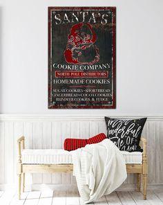 Santa's Cookie Co Farmhouse Christmas Canvas Wall Art. Make your walls fun this Christmas with our vintage wall art. #farmhouse #livingroom #farmhousestyle #homedeco #modernhome #homedecoration #industrialdesign #interiordesign #interiors #rusticdecor  #santa #christmas #christmasdecor #christmasdecorations #santaclaus  #newhome #giftideas #walldecor #farmhousechristmas #christmasgifts #christmasdecorating #reindeer #wallart Modern Farmhouse Living Room Decor, Farmhouse Wall Art, Farmhouse Christmas Decor, Modern Farmhouse Style, Farmhouse Decor, Christmas Wall Art, Christmas Canvas, Santa Christmas, Vintage Wall Art