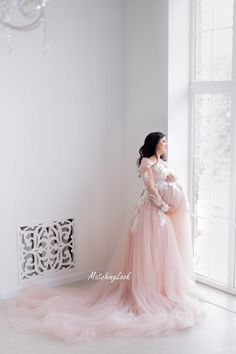 Luxury Embroidered Tulle Maternity Gown|Lace Mash Maternity Dress|Maternity Dress For Photo Shoot|Unique Maternity|Baby Shower Dress|Sheer