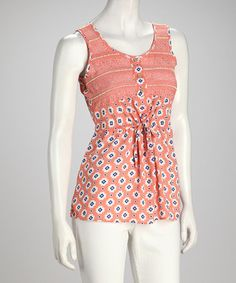 Take a look at this Coral & White Abstract Floral Tank by Clothing Showroom on #zulily today!