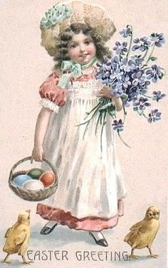 ♥ Easter Greeting ... girl with forget-me-nots, eggs  chicks