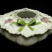 Antique RS Prussia Hair Receiver with lid - Bowtie mold with roses, ribbons