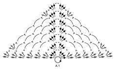 """Loren - Chal DROPS en ganchillo con arcos de cadenas y abanicos, trabajado de arriba para abajo, en """"Delight"""". - Free pattern by DROPS Design"""