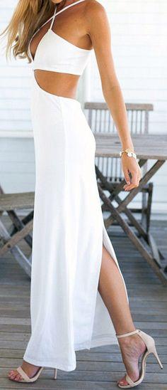 Cutout Halter Maxi Dress