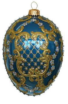 Edward Bar Ornament Egg Blue Christmas Ornament Glass Handmade in Poland  $44.00 on eBay