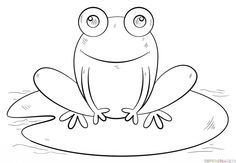 How to draw a frog on lily pad step by step. Drawing tutorials for kids and beginners.