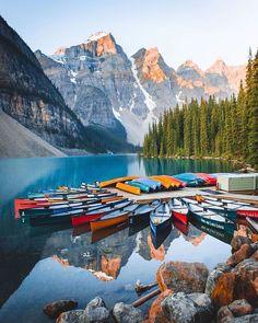 Weekend fairytale   Banff National Park Canada  @jguzmannn  #travel #blogger #beautifuldestinations #vacation #inspiration #traveltheworld #tourist #ideas #travelideas #bestplace #bestview  #wonderful_places  #worldwonder #traveltips #tips #beautifullocation #banff #banffnationalpark #canada #canadatravel #visitcanada #boats #mountains #lake #vacation #holidayweekend #holidays #weekend Lac Moraine, Moraine Lake, Lake Moraine Canada, Mykonos, Santorini, Tromso, Parc National, National Parks, Wayfarer