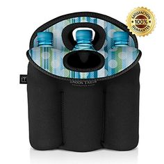 Camping Kitchen :LONDON TAILOR Neoprene Bottle Tote Carrier Cooler - Holds a Six - 6 Pack of Beer or Soda Bottles or Cans - Protects Glass from Damage - Insulated Like Coolers - Stylish and Easy to Carry * A special product just for you. See it now! : Camping Kitchen