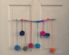 Colorful Pom Pom Mobile by BrownFinches on Etsy, $20.00